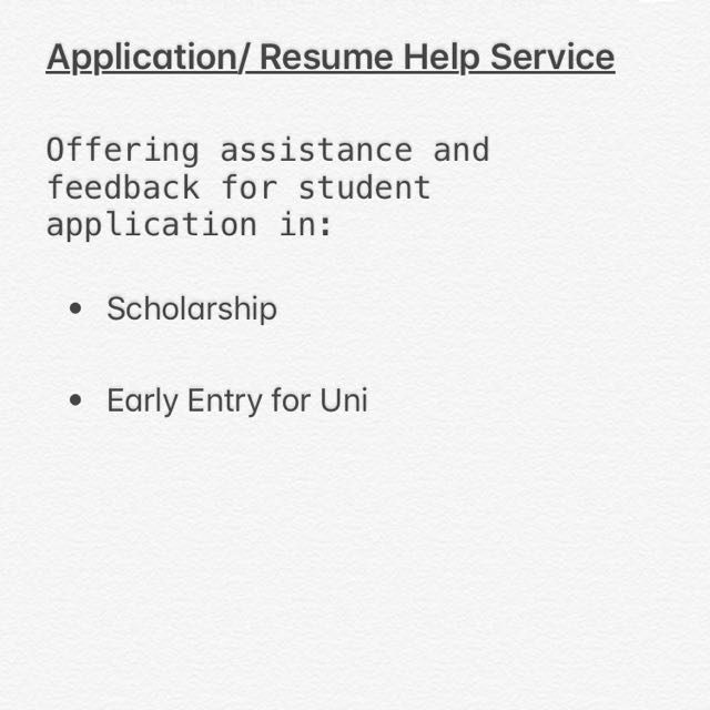 Student Application (early entry forms/scholarship)/Resume