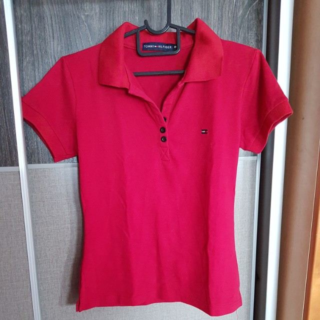 bb497423 Tommy Hilfiger Red Polo Tee, Women's Fashion, Clothes, Tops on Carousell