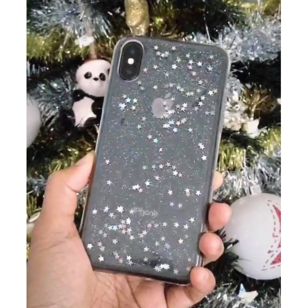 Transparent Silicone, Glitter Star - iPhone X