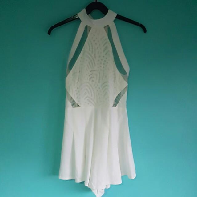 White Diamond Pattern Jumpsuit