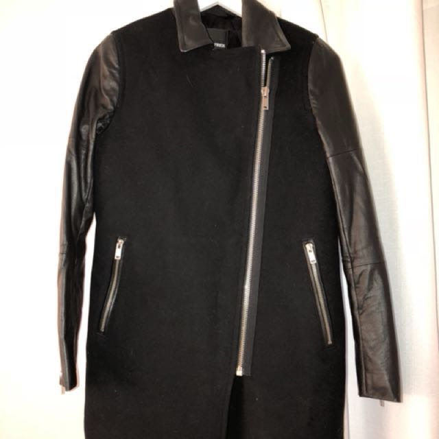 Wilfred Aritzia wool leather coat with black leather details