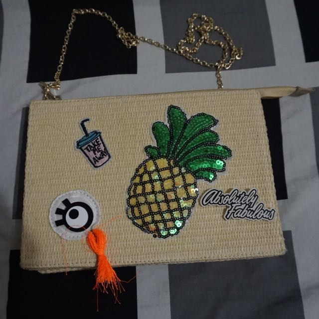 Woven Clutch with chain strap