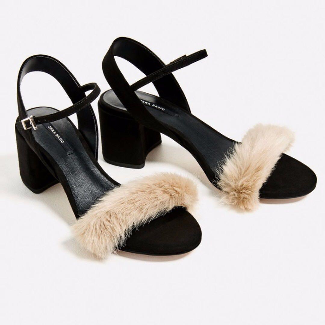 ZARA Faux Fur Vamp Sandals