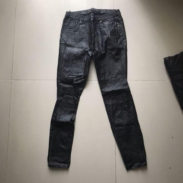 Zara faux leather pants black