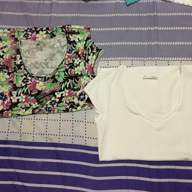 Zara Plain and floral shirt bundle
