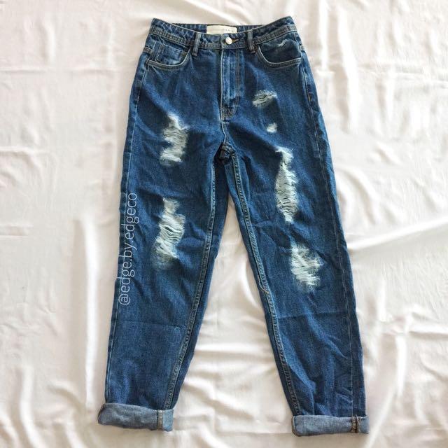 Zara Ripped Mom Jeans overruns