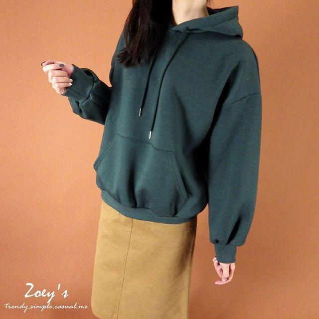 Zoey's 正韓 素面內磨毛連帽T 綠 #幫你省運費