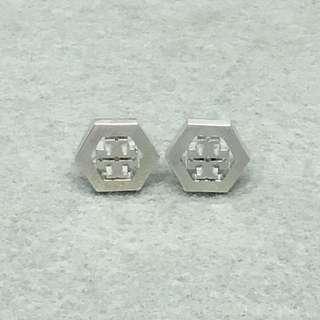 Tory Burch Sample Earrings 銀色六角形耳環 沒有耳環托
