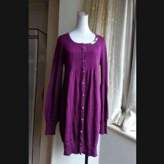 設計師*張偉珊* 深紫蠶絲混喀什米爾 針織外套洋裝