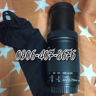 Canon efs 55-250mm is 1 is2 is stm zoom Lens with pouch