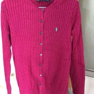 美國品牌Ralph Lauren polo sport 桃紅色針織外套