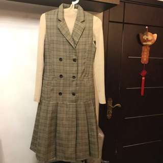 Made in Korea Khaki Checked One Piece Dress