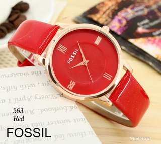 JAM FOSSIL for ladys # J563#3  Quality : premium Authentic kulit glossy   uk D-3cm   Berat 0,3 kg  free Box  only 4 colour -Black -White -Red -Blue  Harga Rp.100.000,-