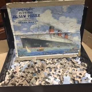 Vintage Queen Mary Jigsaw Puzzle (Plywood)