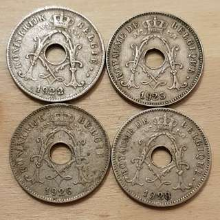 1920s Belgium 10 Centimes Coins