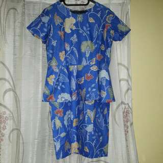 ruffle batik dress - blue