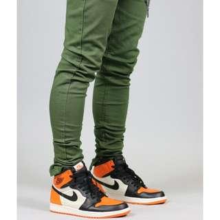Olive zipper pants ( Twill Cotton )