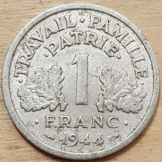 1944 Vichy France 1 Franc Coin