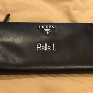 Prada Smooth Leather Zip Long Wallet Black and Red