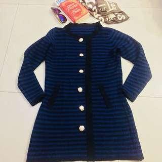 Knitted Royal Blue Elegant Dress