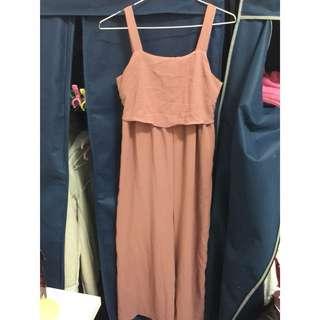 小露背粉橘洋裝