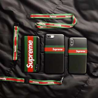 Iphone 6 7 8 X Supreme Gucci Soft Case with Lanyard