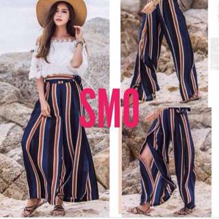 COLOR STRIPE SIDE SLIT CULOTTE PANTS