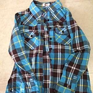 🚚 H2O 高質感 襯衫 隔子 上衣 外套 長版 有腰身