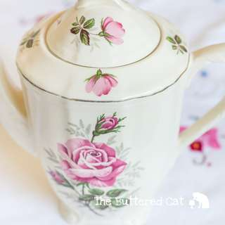 Vintage pink English rose coffee pot / teapot, art deco style details