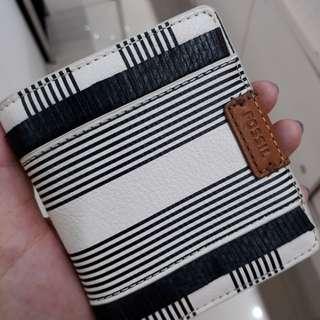 Fossil Emma printed mini wallet RFID black stripe