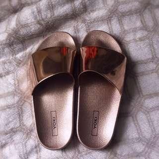 Yoki riri sandal slides rose gold