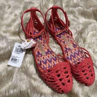 Grendha Red Capri Sandals Flat Slip On Gladiator