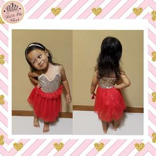< Instock > Brand New Kids Red Party Dress