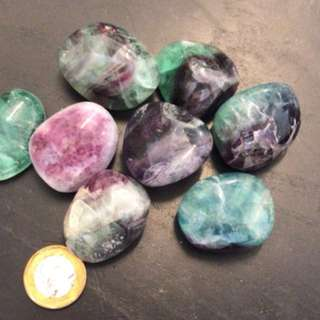 Fluorite tumbled crystals very vibrant
