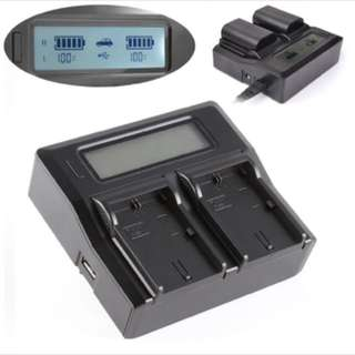 LCD Dual Battery Charger For Canon LP-E6 LC-E6E 7D Mark II 6Da 5DS R 6D 60D 70D