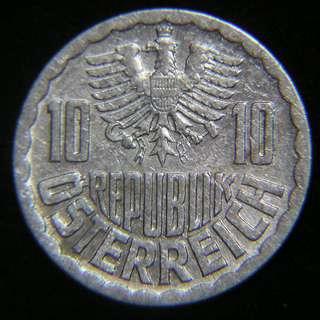 1979年奧地利共和國(Austria)大鷹國徽10格羅申鋁幣(好品)