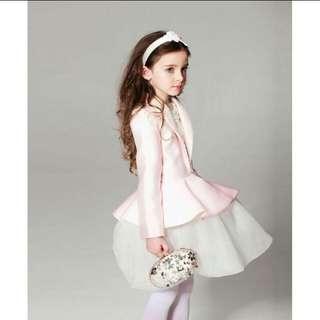 (set) kids pink blazer + white dress