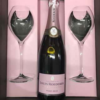 Louis Roederer champagne Vintage Rose with glasses box set