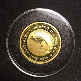 2014 Australia 1oz Gold Kangaroo BU (25th Anniversary)