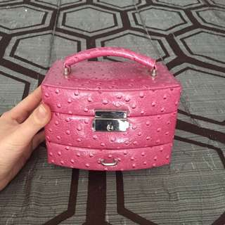 Pink Faux Leather Jewelry Storage