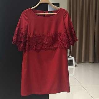 Zalora Festive Red Mini Dress (Size XS)