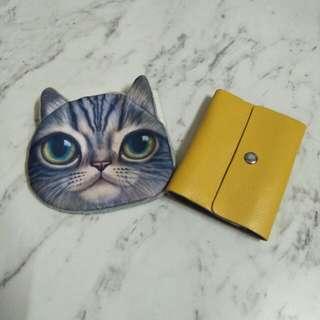 🚚 <兩樣合買>🐱貓咪零錢包+黃色皮質卡片包