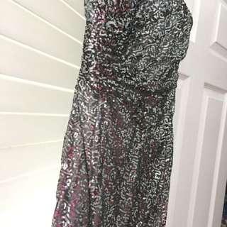Sequin open slit grey dress