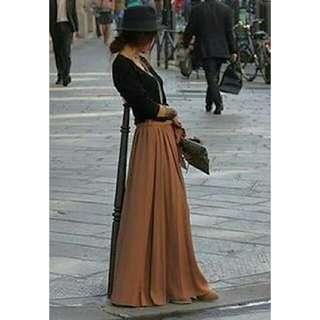 Brown Chiffon Maxi Skirt