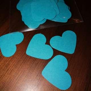 Confetti heart blue turqoise 2.5cm 60 pieces