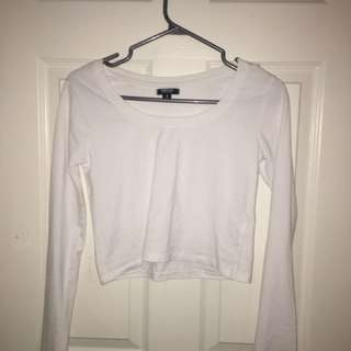 Long Sleeve White Crop Top from Ardene