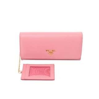 推廣大優惠 ‼️💓PRADA 粉色牛皮&附卡片套長銀包#全新