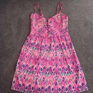 Pink Patterned Roxy Dress