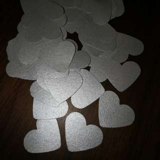 Confetti Heart Silver metallic 2.5cm 60 pieces