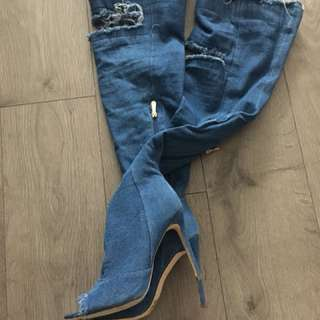 Over the knife denim boots